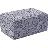 subrtex Jacquard Damask Stretch Oversize Storage Ottoman Slipcover Protector Spandex Elastic Rectangle Footstool Sofa Slip Co