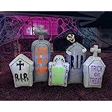 7 Foot Long Halloween Inflatable Tombstones Pathway Scene Haunted House Prop Grim Reaper LED Lights Decor Outdoor Indoor Holi