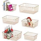 Wire Storage Basket, F-color 6 Pack Multi Size Metal Baskets for Storage Organizer for Pantry, Shelf, Freezer, Kitchen, Cabin