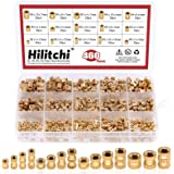Hilitchi 460 Pcs M2 M3 M4 M5 Female Thread Brass Knurled Threaded Insert Embedment Nuts Assortment Kit, Embed Parts, Pressed