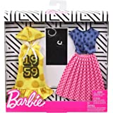 Barbie Clothes: 2 Outfits for Barbie Doll Feature Polka Dots On A Yellow Hoodie Dress, A Blue Top and Pink Skirt, Plus 2 Acce