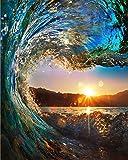 WONZOM 油絵 数字キットによる絵画 塗り絵 大人 手塗り DIY絵 デジタル油絵 40x50センチ 海 風景 (フレームレス, 波)