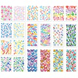 20 Sheets Korean Deco Stickers with Rainbow Ribbon Fireworks Different Style Self Adhesive Stickers for Arts Craft Greeting C