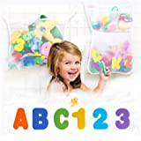 2 Tub Cubby Bath Toy Organizers + 37 Foam Letters + Baby Rubber Ducky - Quick Dry Mesh Net Shower Caddy Helps Kids Toys Dry M