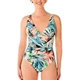 Swim Solutions Tummy Control Bust Control Palm Tree Print Plunge Mio Peach & White