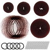 Hair Donut Bun Maker, FANDAMEI Hair Bun Shaper Set with 20 pcs Invisible Hair Nets for Bun, 4pcs Donut Bun Maker, 5 pcs Hair