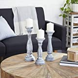 Deco 79 Wood Candle Holder, White, 15 by 13 by 11-Inch
