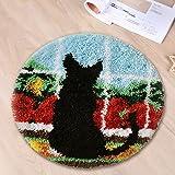 Latch Hook Kit DIY Rug Carpet Handcraft Cushion Embroidery Set Crocheting for Kids & Adults Animal Pattern (Black cat, 20x20