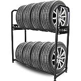 Rosefray タイヤラック タイヤスタンド 2段式タイヤラック スチール 幅111.5×奥行38×高さ110.5cm 8本タイヤ収納 耐荷重300kg-M