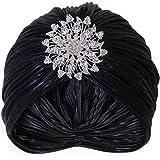 Vijiv Women's Vintage Lurex Knit Turban Beanie Hats Headwraps for 1920s Cocktail Party