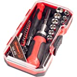 Ratcheting Screwdriver with 41 Piece Bit and Socket Set - Stubby Handle Multitool with Metric and SAE Drivers and Precision B
