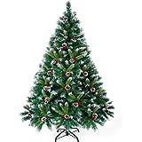 Breeno クリスマスツリー 150cm 赤い実と松ぼっくり付 枝大幅 枝数500本 雪化粧 高濃密度 鉄の底 クリスマスグッズ インテリア用品 組立簡単 収納便利 クリスマス飾り/プレゼント