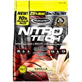 Whey Protein Powder, MuscleTech Nitro-Tech Whey Protein Isolate + Peptides, Lean Protein Powder with Creatine, Sports Nutriti