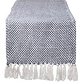 """DII CAMZ11266 Braided Cotton Table Runner, Perfect for Spring, Fall Holidays, Parties and Everyday Use 15x72"""" French Blue"""