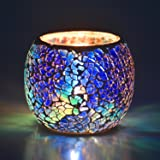 Scented Candle Holder Mosaic Glass Tea Light Holder,Handmade Romantic Glass Tealight Candle Holder for Aromatherapy,Party Déc