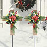 MorTime 2 Pack Christmas Garden Stakes Wooden Cross with Red Bowknot Berries Pinecones, LED Solar Yard Stake Lights for Outdo