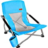 Nice C Low Beach Camping Folding Chair, Ultralight Backpacking Chair with Cup Holder & Carry Bag Compact & Heavy Duty Outdoor