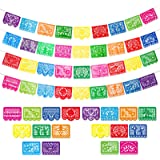 4 Packs Mexican Party Banners Large Plastic Papel Picado Banner Fiesta Plastic Banners, 4 Different Designs, 60 Feet Long Tot