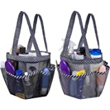 Attmu 2 Pack Portable Mesh Shower Caddy Dorm with 8 Mesh Storage Pockets, Quick Dry Waterproof Shower Tote Bag Oxford, Black