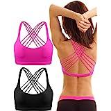 Patelai 2 Pack Womens Padded Sports Bra Cross Back Bra Workout Strappy Bra Seamless Comfortable Yoga Bra