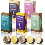 Gourmesso グルメッソ フレーバー バンドル 100 コーヒー カプセル 互換 ネスプレッソ マシン付 100% フェア トレード バニラ キャラメル チョコレート ヘーゼルナッツ ココナッツ 風味 エスプレッソ ポッド含む