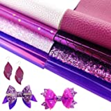 AUXIN 8 Pcs Mixed Purple Series A4 Size Faux Leather Sheets Bundle for Bows Earrings Jewelry Making, Assorted Embossed Chunky