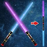 2-in-1 Light Up Saber(3 Color Changing) LED Dual Laser Swords, FX Sound (Motion Sensitive) and Telescopic Handle for Galaxy W