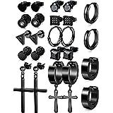 Besteel 12 Pairs Black Stainless Steel Stud Earrings for Women Men Hoop Barbell Triangle Cross Huggie Earrings Piercing Jewel