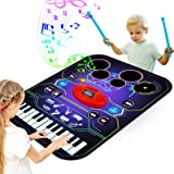 Apsung 2-in-1 Music Lam Playmat with Drum & Keyboard Piano Comb Play Mat Music Dance Mat for Child, Early Educational Toys fo