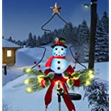 Doingart Outdoor Solar Light Christmas Decorations, Snowman Christmas Light with Faux Red Berry, Foliage Accents Garden Decor
