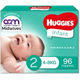 Huggies Infant Nappies, Unisex, Size 2 (4-8kg), 96 Count, (Packaging May Vary)