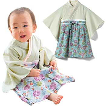 a7862ac78df7c Sweet Mommy 袴 ロンパース ベビー 着物 カバーオール 日本製和柄ちりめん オーガニックコットン身頃 ライト