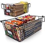Gorgeous Stackable XL Wire Baskets For Pantry Storage and Organization - Set of 2 Pantry Storage Bins With Handles - Large Me