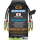 1 Foot RCA Cable Pair - Made with Canare L-4E6S, Star Quad, Audio Interconnect Cable and Amphenol ACPR Gold RCA Connectors –