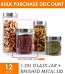 Set of 12 - 1250ml Round Clear Glass Canisters with Stainless Steel Screw On Lid - 12 Pcs - 1.25 LITRE - Food Storage...