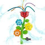 CHUCHIK Outdoor Water Spray Sprinkler for Kids and Toddlers - Cute Lawn Spinning Flower Kids Sprinkler w/ Wiggle Tubes - Spla