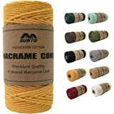SUNTQ Macrame Cord Soft Unstained Cotton Rope for Handmade Plant Hanger, Wall Hanging Craft Making, Crafts, Knitting,Decorati