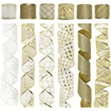 Midi Ribbon Gold Ribbon Christmas Ribbon Wired, Glitter Tulle Crafts Gift Wrapping Ribbon Christmas Design Decoration, Wired