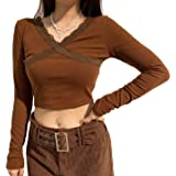 Womens Long Sleeve Lace Shirts Color Block Patchwork Crop Tops Crewneck Female y2k Summer 2021 Fashion Streetwear Tees