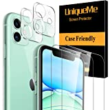 [ 4 Pack] UniqueMe 2 Pack Screen Protector +2 Pack Camera Lens Protector for Apple iPhone 11 (6.1 inch) Tempered Glass