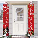 Shmbada Welcome Merry Christmas Party Decor Porch Sign Front Door Hanging Banners Flags, Twill Fabric Wall Decoration for Ind