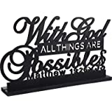 Inspirational Table Art with God All Things are Possible Positive Sign Home Table Decoration, Motivational Table Centerpieces