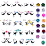 Duufin 15 Sets Face Jewels Stick on Face Gems Glitter Mermaid Crystal Stickers with 15 Boxes Chunky Face Glitter Temporary Ta