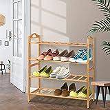 Artiss 4-Tier Bamboo Shoe Rack