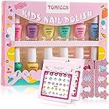 TOMICCA Kids Nail Polish Set Candy Rainbow 12 Colors 100% Non-Toxic Washable Odorless Peel Off Natural Safe Nail Polish Set Q