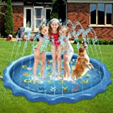 Toddlers Splash Pad, Sprinkler for Kids, 68 Inch Wading Swimming Pool Play Mat, from A to Z Outdoor Water Sprinkler Toys for