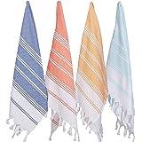 (Blue) - (Set of 4) Unique Hand Face Towel Set 100% Turkish Cotton 50cm x 80cm Pestemal Peshtemal Fouta Towel Kitchen Bath Sp