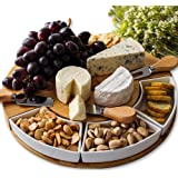 Bamboo Cheese Board and Knife Set – Charcuterie Boards with Cutlery Set - 4 Stainless Steel Knives in Slide-Out Drawer – Chee