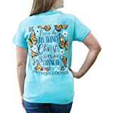 Do All Things Floral Butterfly Sky Blue Cotton Fabric Classic T-Shirt