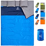oaskys Camping Sleeping Bag - 3 Season Warm & Cool Weather - Summer, Spring, Fall, Lightweight, Waterproof for Adults & Kids